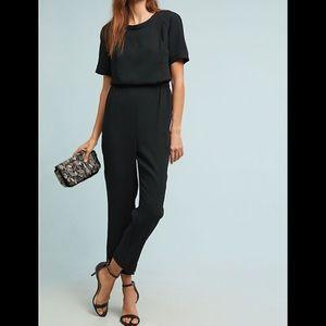 Anthropologie Allegory textured jumpsuit Black SzM